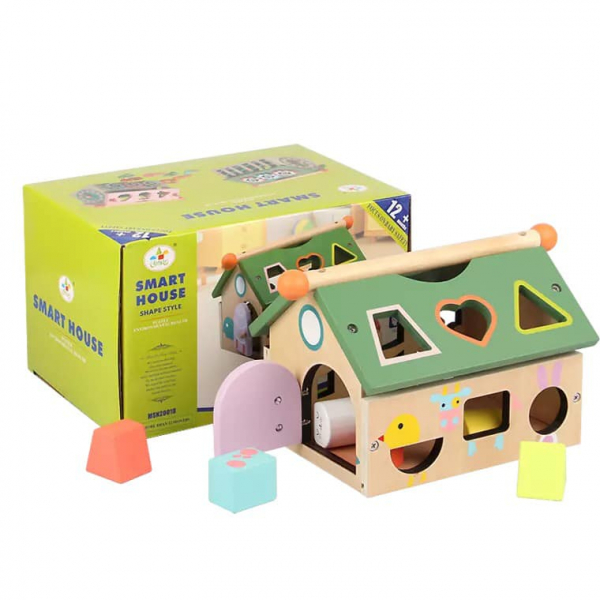 Joc educativ din lemn sortare forme geometrice Casuta inteligenta [1]