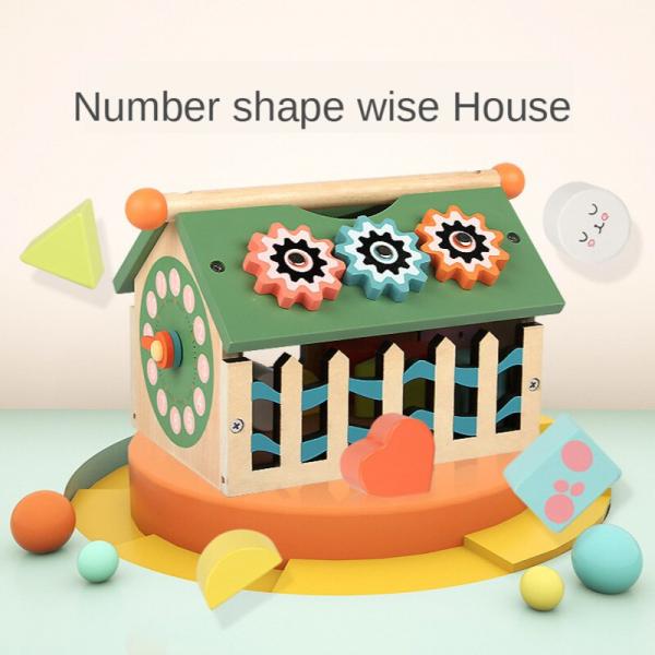 Joc educativ din lemn sortare forme geometrice Casuta inteligenta [3]