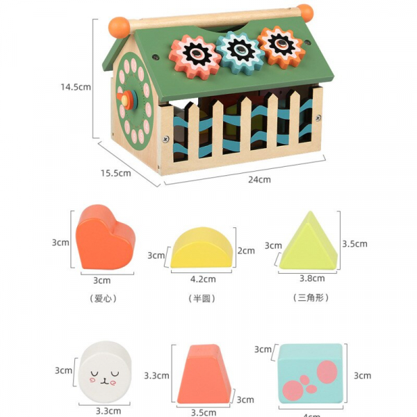Joc educativ din lemn sortare forme geometrice Casuta inteligenta [4]