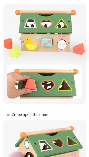 Joc educativ din lemn sortare forme geometrice Casuta inteligenta [7]