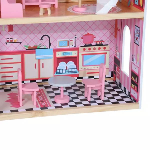 Casuta Papusi Mare din Lemn 3 etaje cu Mobila - Pink Vila 5