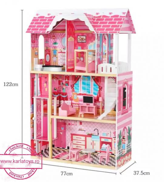 Casuta Papusi Mare din Lemn 3 etaje cu Mobila - Pink Vila 3