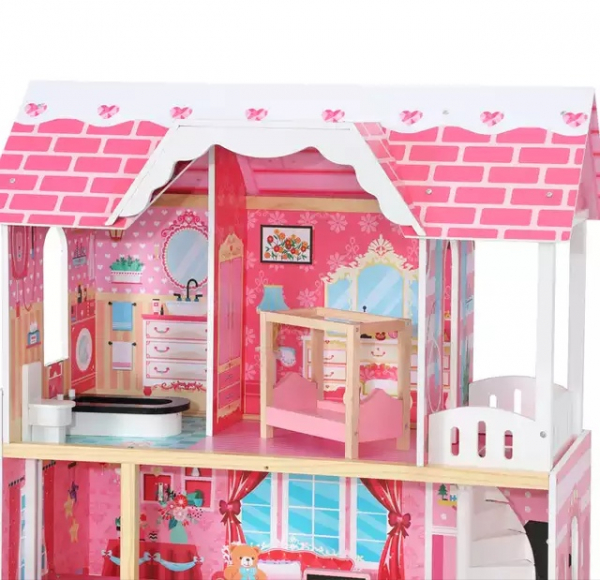 Casuta Papusi Mare din Lemn 3 etaje cu Mobila - Pink Vila 2