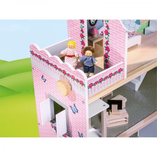 Casuta din lemn papusi Mare Pink House Dolls - Casuta papusicu etaj  Roz cu accesorii 2
