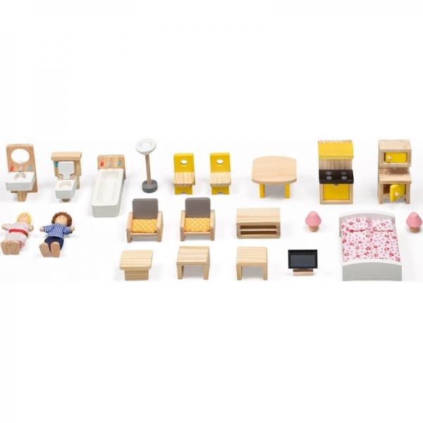 Casuta din lemn papusi Mare Pink House Dolls - Casuta papusicu etaj  Roz cu accesorii 3