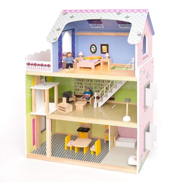 Casuta din lemn papusi Mare Pink House Dolls - Casuta papusicu etaj  Roz cu accesorii 0