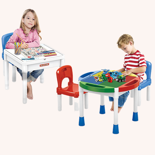 Masa Lego cu 2 scaune 2 in 1 compatibila cu piesele lego 1