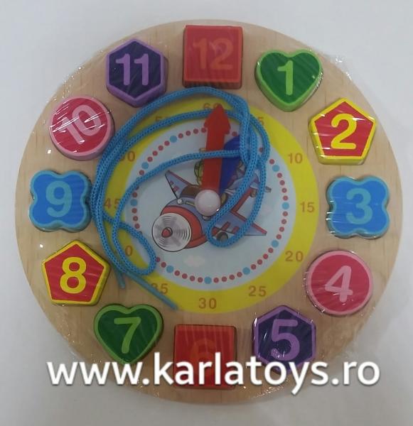 Ceas din lemn 2 in 1 pentru copii -  Ceas lemn cu forme geometrice 5