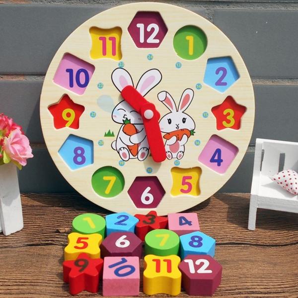 Ceas din lemn 2 in 1 pentru copii -  Ceas lemn cu forme geometrice 8