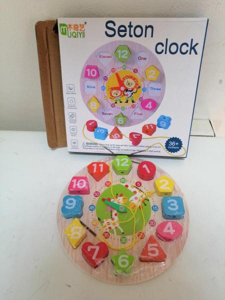 Ceas din lemn 2 in 1 pentru copii -  Ceas lemn cu forme geometrice 10