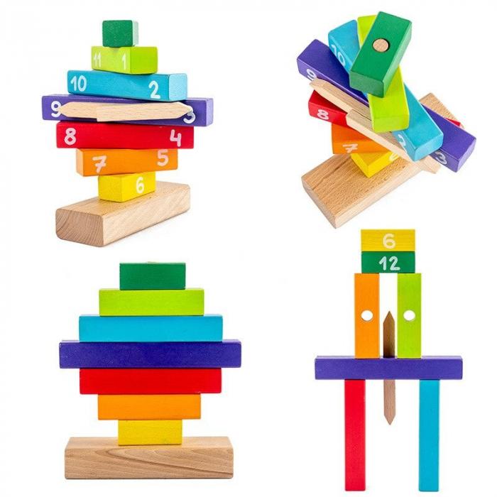 Ceas Puzzle din Lemn Montessori Multicolor 3