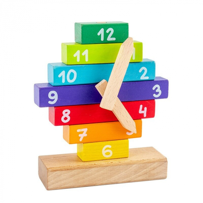Ceas Puzzle din Lemn Montessori Multicolor 2