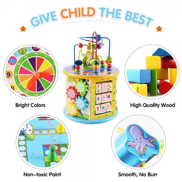 Centru activitati din lemn Cub educativ 8 in 1 Frog 7