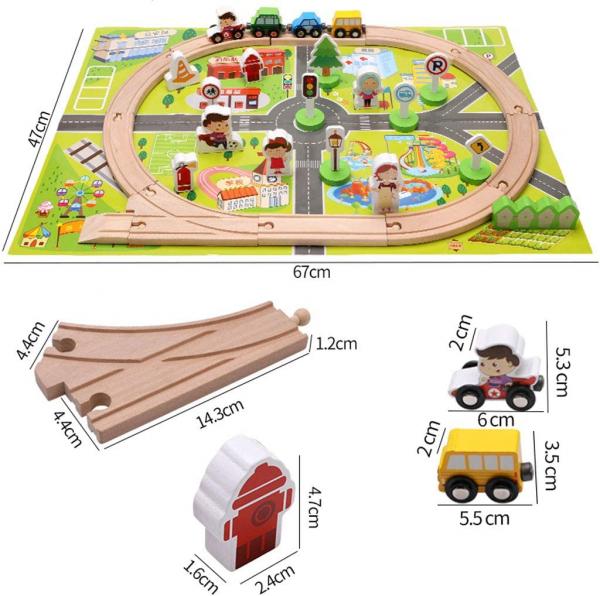 Trenulet din lemn manetic cu circuit 36 piese 3