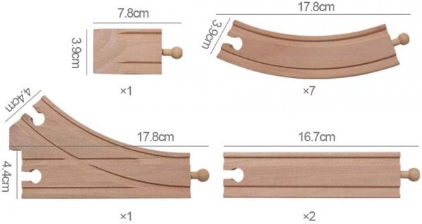 Trenulet din lemn manetic cu circuit 36 piese 4