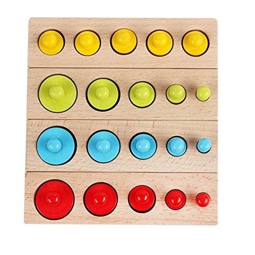 Joc Lemn montessori Cilindri din lemn - Set 4  cilindri colorati 1