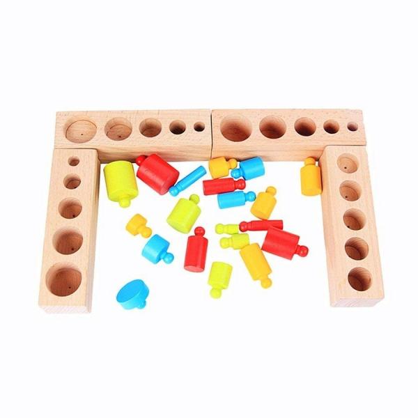 Joc Lemn montessori Cilindri din lemn - Set 4  cilindri colorati 2