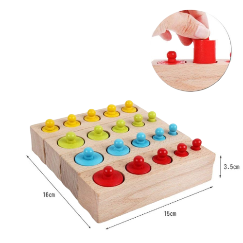 Joc Lemn montessori Cilindri din lemn - Set 4  cilindri colorati 3