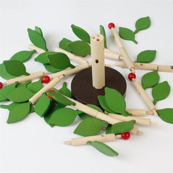 Jucarie de lemn puzzle mntessori Copacul cu frunze 3D 1