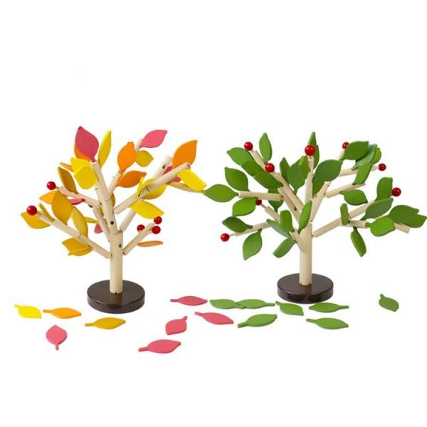 Jucarie de lemn puzzle mntessori Copacul cu frunze 3D 0