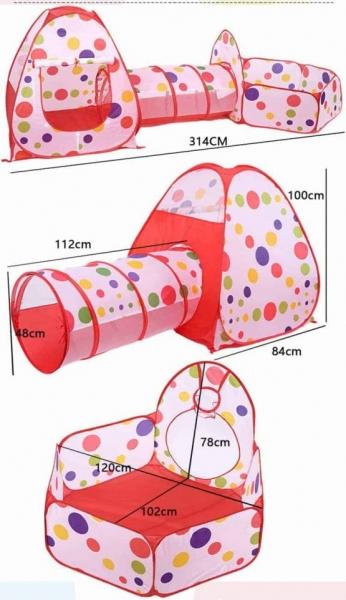 Cort de joaca cu tunel pentru copii 3 in 1 2