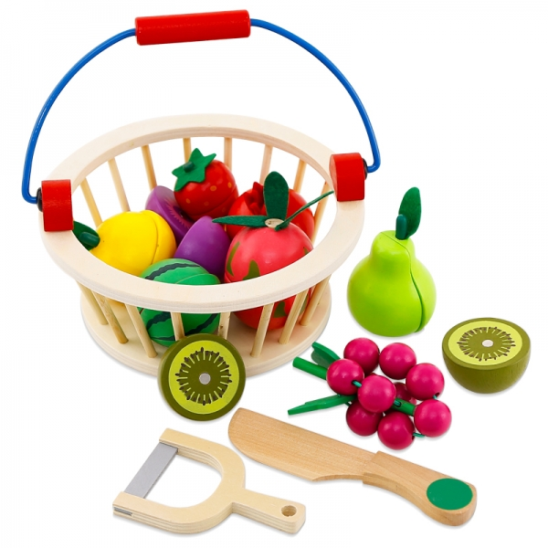 Cos din lemn cu fructe de feliat cu prindere magnet 0