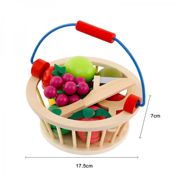 Cos din lemn cu fructe de feliat cu prindere magnet 4