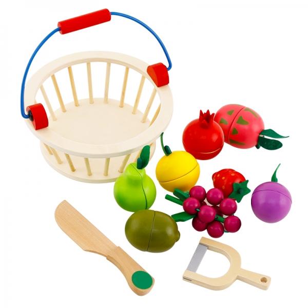 Cos din lemn cu fructe de feliat cu prindere magnet 1