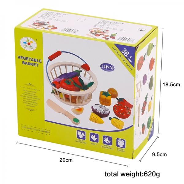 Cos din lemn cu fructe de feliat cu prindere magnet 5
