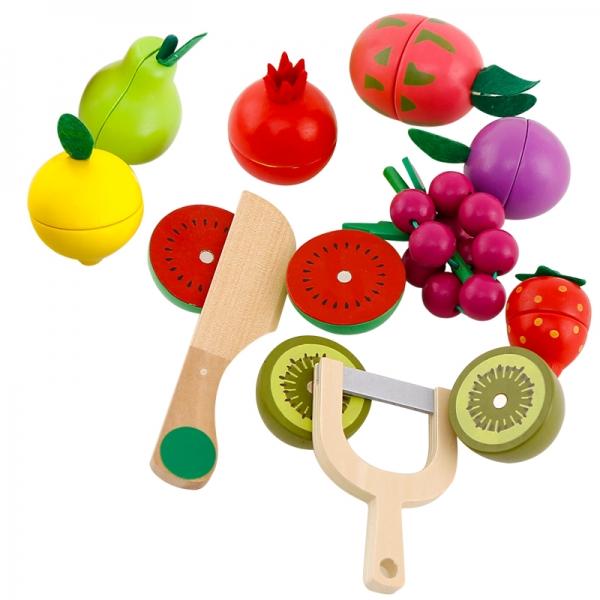 Cos din lemn cu fructe de feliat cu prindere magnet 2