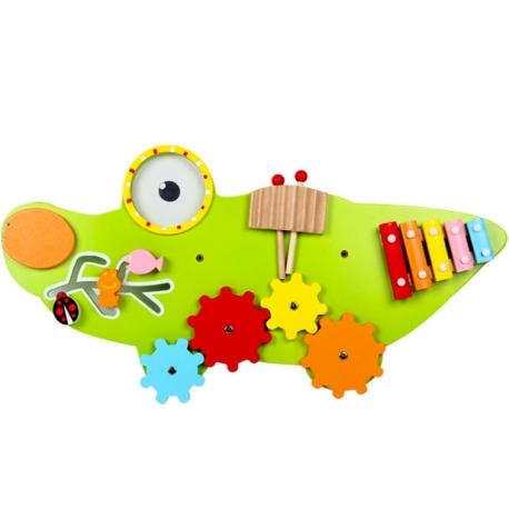 Placa senzoriala din lemn Crocodil - Panou acctivitatii copii 1