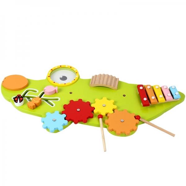 Placa senzoriala din lemn Crocodil - Panou acctivitatii copii 0