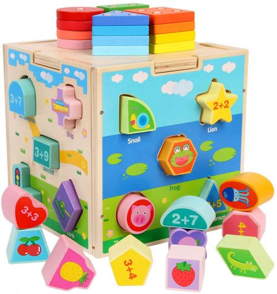 Cub din lemn educativ sortator si stivuire cuburi  5 in 1 0