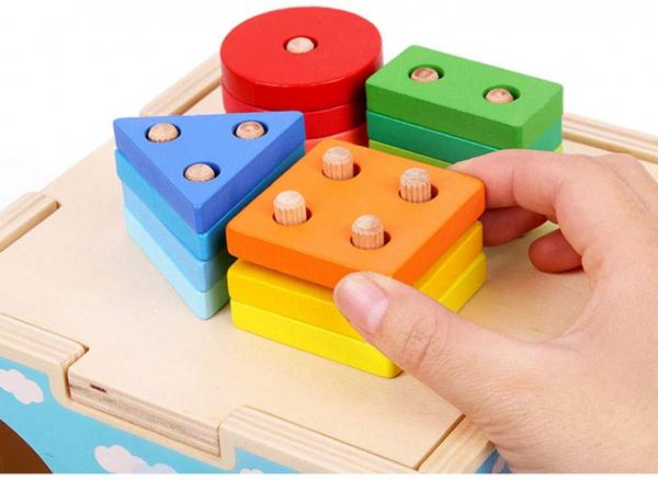 Cub din lemn educativ sortator si stivuire cuburi  5 in 1 2