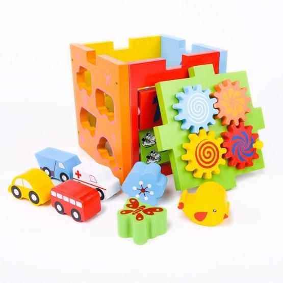 Cubul educativ 5 in 1 din lemn cu roti zimtate animale si masinute 1