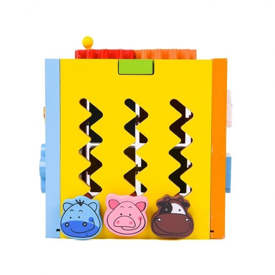 Cubul educativ 5 in 1 din lemn cu roti zimtate animale si masinute 2
