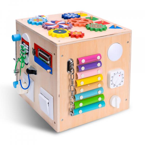 Cub Lemn Educativ Senzorial Montessori Busy Box [2]