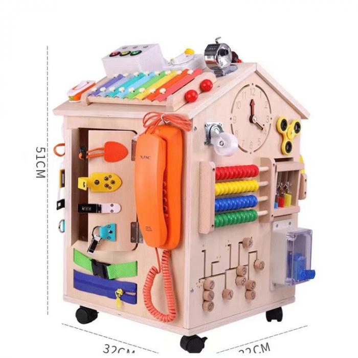 Cub cu Activitatii Montessori din Lemn Inchizatori Casuta cu Jocuri [10]