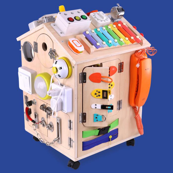 Cub cu Activitatii Montessori din Lemn Inchizatori Casuta cu Jocuri [0]