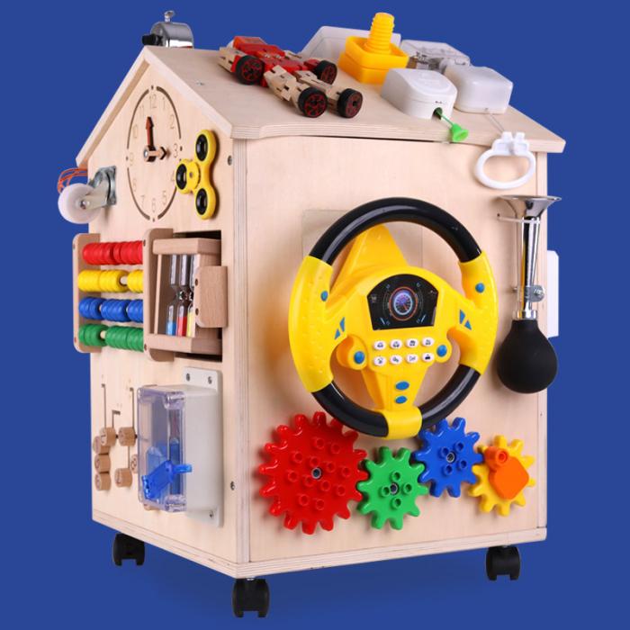 Cub cu Activitatii Montessori din Lemn Inchizatori Casuta cu Jocuri [2]