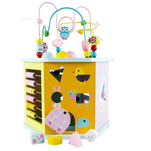 Joc din lemn Multifunctional Hexagon Animale 8 in 1 MSN 4