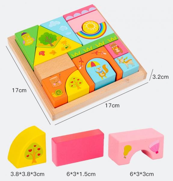 Set Cuburi de constructie cu animale din lemn cu cutie 10