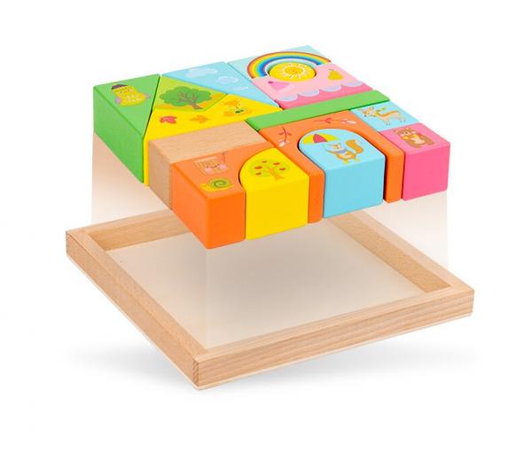 Set Cuburi de constructie cu animale din lemn cu cutie 2