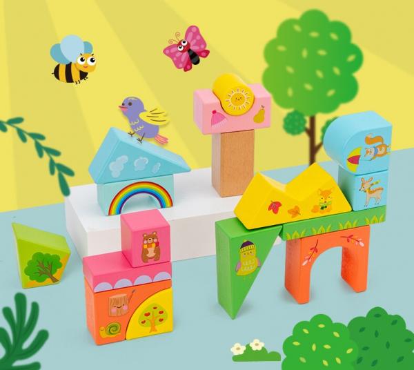 Set Cuburi de constructie cu animale din lemn cu cutie 0