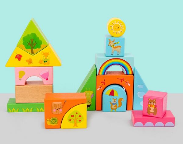 Set Cuburi de constructie cu animale din lemn cu cutie 3