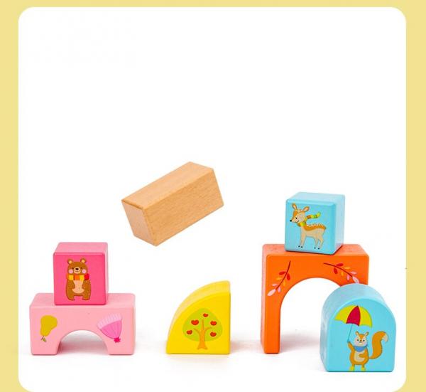 Set Cuburi de constructie cu animale din lemn cu cutie 4