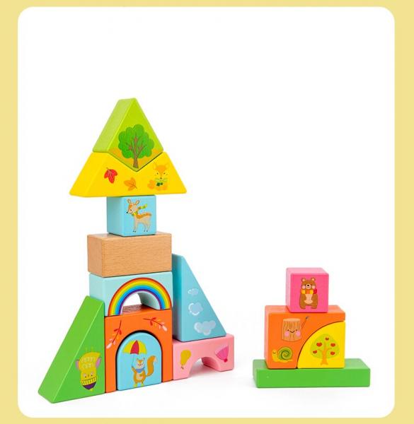 Set Cuburi de constructie cu animale din lemn cu cutie 5