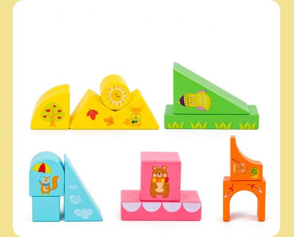 Set Cuburi de constructie cu animale din lemn cu cutie 6