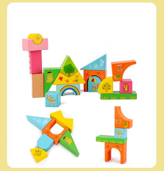 Set Cuburi de constructie cu animale din lemn cu cutie 7
