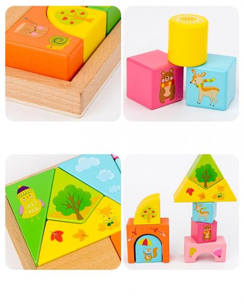 Set Cuburi de constructie cu animale din lemn cu cutie 8
